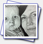 Drawing of my colleagues daughter and his wife; Format A3, pencils Faber-Castell: 4B, 2B; pencils Koh-i-noor: 5H, 3H, 2H, B