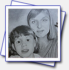 Drawing for my colleague it's her with daughter; Format A3, pencils Faber-Castell: 6B, 4B, 2B, B; pencils Koh-i-noor: 5H, 4H, 2H
